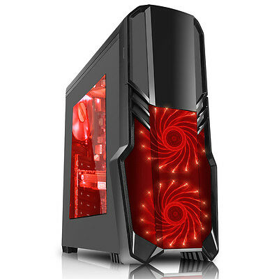 CiT G Force Black Mid Tower Case USB 3.0 2x12cm Red 15 LED Front Fans