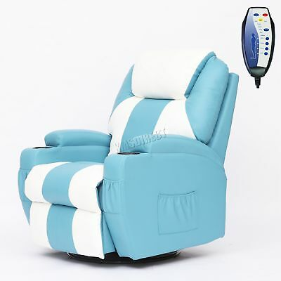FoxHunter Bonded Leather Massage Sofa Recliner Rocking Heat Turquoise White