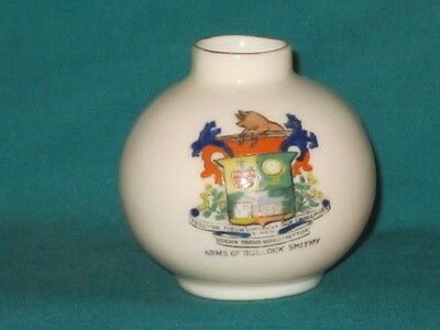 Arcadian China Vase - ARMS OF BULLOCK SMITHY crest
