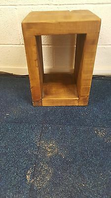 Solid Wood Rustic Cube Wooden Side/end Table