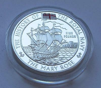 Royal Mint History of the Royal Navy Alderney silver proof £5 2003 - Mary Rose