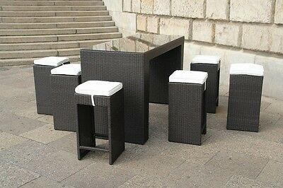 Bar Set Outdoor Wicker With Glass Top And 6 Stools Brown Used Ticket #51555
