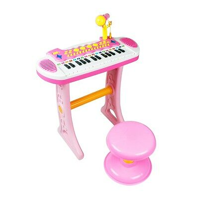 Electronic Girls 31 Key Keyboard Piano Toy Record+Microphone Stool children PinK