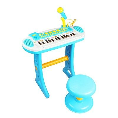 Boys Blue Childrens Electronic 31Key Keyboard Piano Toy Record Microphone Stool
