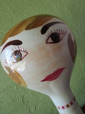 Stangl Ceramic Pop Art Mannequin Head Pottery Hand Painted Brown Eyes Sculpture