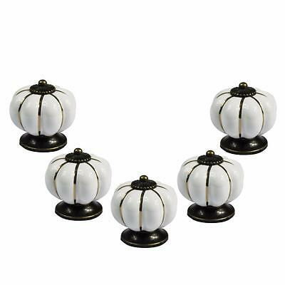 5 Ceramic Pull Knobs for European Vintage Dresser Kitchen Cabinet Drawer Door WT