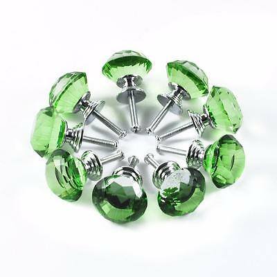 12 Green Crystal Glass kitchen Cabinet Knob Cupboard Drawer Dresser shabby Chic