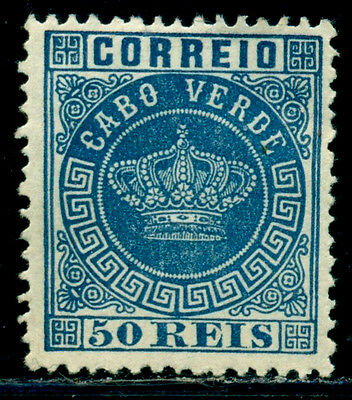 1881 Royal Crown,Definitives,Cabo Cape Verde,Mi.14A,50R,perf.12.5,MNG