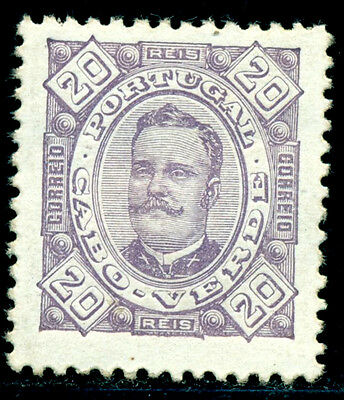 1894 King Carlos I,Definitives,Cabo Cape Verde,Mi.28A,20R,perf.11.5,MLH