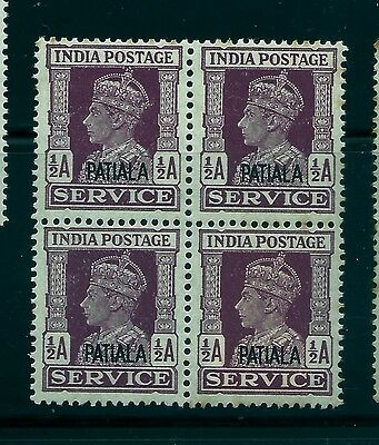 1939-44 Patiala State,sg073 Cat£5 1/2 Anna, Kgvi,block Of 4,india,indian States