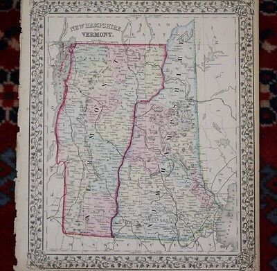 New Hampshire and Vermont Rare Original Antique 1870 Mitchell's Atlas Map