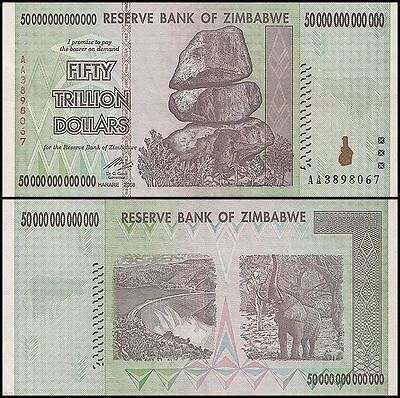 50 TRILLION ZIMBABWE DOLLAR MONEY CURRENCY.XF-AU. Circulated.US SELLER.10 20 100