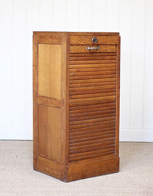 Vintage Antique French Wooden Oak Tambour Filing Cabinet