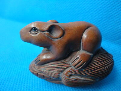 COLLECTED CHINA OLD BOXWOOD HANDCRAFTED CARVING VIVID WOOD NETSUKE Rat