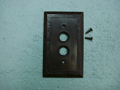 Vintage Uniline Brown Push Button Switch Plate Leviton