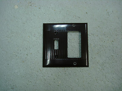 Vintage Uniline Brown Decora GFCI Switch Outlet Cover Plate 2 Gang Ribbed