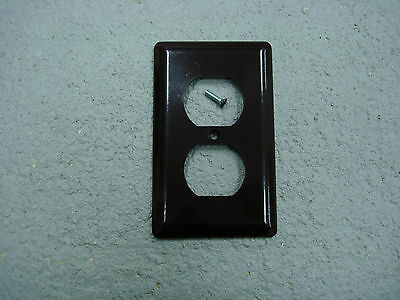 Vintage Smooth Brown GE Outlet Cover Plate Wall Plate