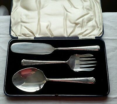A Vintage Cased 3 Piece Silver Plated Serving Cutlery Set, John Turton C1920.