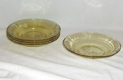 """4 Federal SHARON/CABBAGE ROSE AMBER *7 1/2"""" JAM DISHES*"""