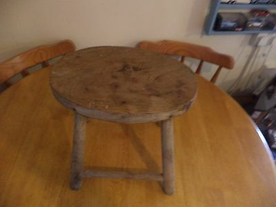 "antique oval wooden stool nice old item 13"" wide x 12"" tall please see pictures"