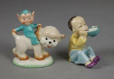Rare Shelley Mabel Lucie Attwell 1930's Figurine Boo-Boo Riding Pixie the Dog