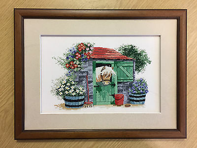 Framed cross stitch picture PONY IN STABLE 'SAFE & SOUND' MARGARET SHERRY