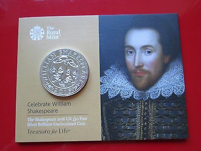 The Shakespeare 2016 £50 Coin UK 999 Fine Silver Fifty Pound Coin Mint SEALED