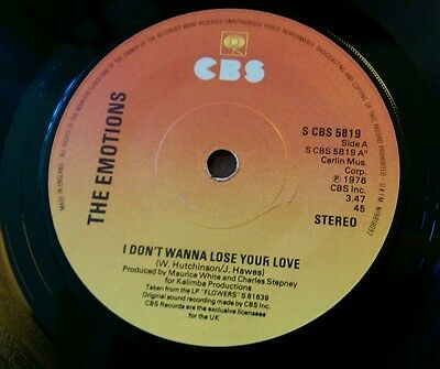 """I Don't Wanna Lose Your Love THE EMOTIONS 7"""" Vinyl 1976 Record CBS 5819"""