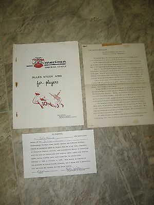 1962 AFL Dallas Texans Football Team Players Rules Contract Signed Bill Miller
