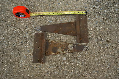 "2 Vintage Old Barn Shed Door Rustic Strap Tee Hinges 12"" X  7"""