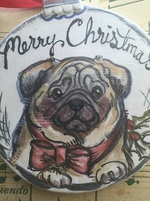 Pug Fawn Holiday Ornament . An Original Art Piece By NFISH