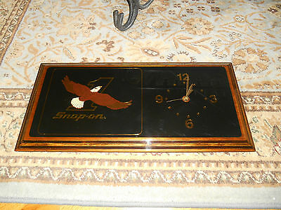 Vintage Snap on Tools Golden Eagle Wood Wall Clock
