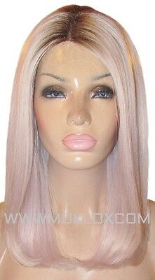 Glueless Human Hair Wig Front Lace 14 Long Platinum Silver Violet Blonde 2 Roots