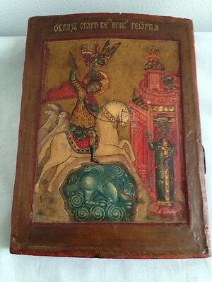 Antique Russian Hand Painted Wooden Icon Of St.george&dragon-Provenance On Back
