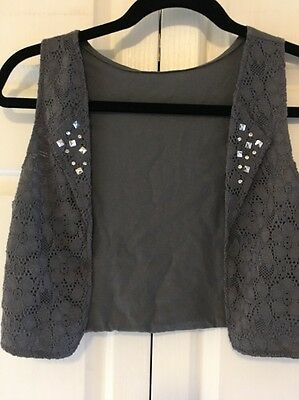 Girls, Justice, Vest, Gray with Silver Studs and Rhinestones, Size 14, Lace
