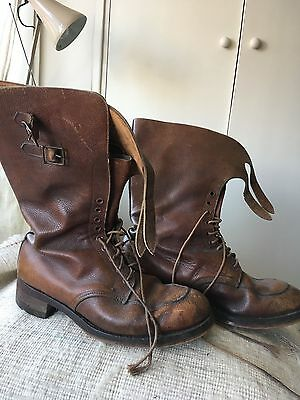 WW2 1944 BRITISH ARMY OFFICERS BROWN LEATHER BOOTS Sz 9 HIGH TOP 2X BUCKLES