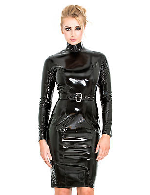b55f50b8098 Honour Women s Pencil Dress in Black PVC Longsleeved Outfit with High Collar