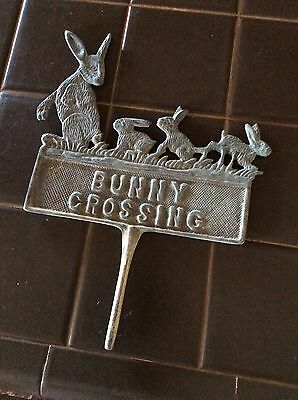 Vintage/antique solid brass garden sign two sided bunny crossing, 1920s