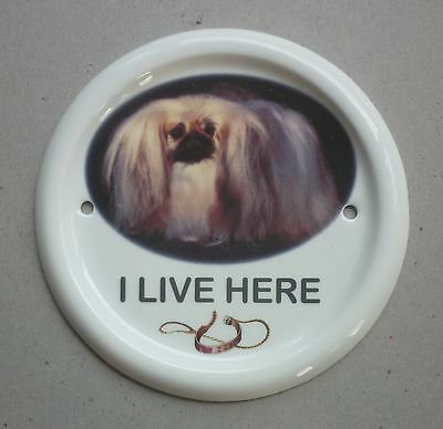 """Pekingese China Dog House Or Gate Sign 5.25"""" Wide By Paddock House Collection"""