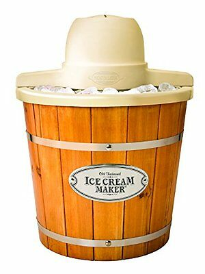 Nostalgia ICMP400WD Vintage Collection 4-Quart Wood Bucket Electric Ice Cream...