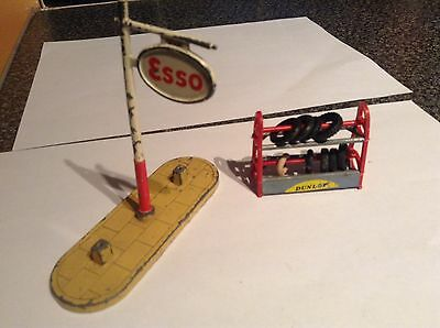 Esso Petrol Station Stand ( Dinky )  & Tyre Rack ( Not Sure )