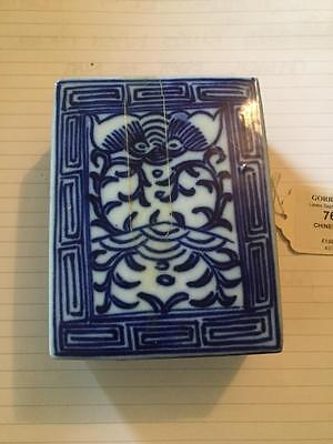 Antique Chinese Blue And White Lidded Box Old Oriental Porcelain Authenticated
