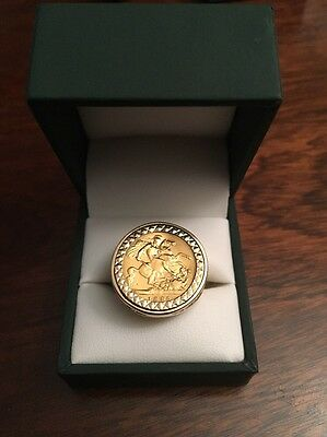 Victoria 1895 Half Sovereign Gold Ring - Size S