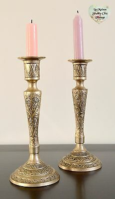 Pair Candlesticks Embossed Candle Holders Antique Solid Brass Ornate Vintage