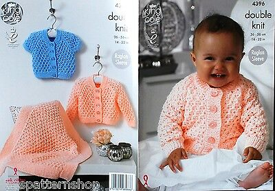 Babys Childs Double Knit Lacy Cardigans & Blanket Knitting Pattern 14 - 22 Inch
