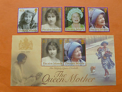 """Pitcairn Island 2002 SG623/MS627 """"Queen Mother"""" (Set of 5) Unmounted Mint"""
