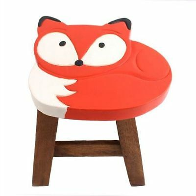 Small Mini Wooden Stool For Children Nursery Playroom Seat Chair ~ Fox