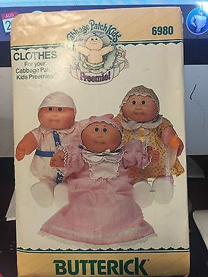 Butterick Cabbage Patch preemies doll clothes sewing pattern 6980 - unused