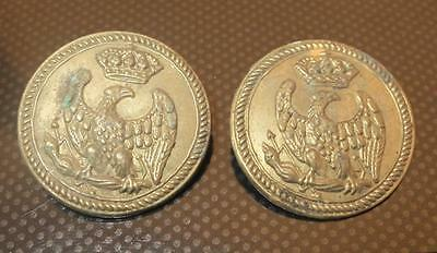Antique Pair of French Napoleon Era French Imperial Eagle Buttons 25mm diam