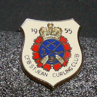 Rare Vintage Curling Pin - 1955 CFB ST-JEAN Curling Club